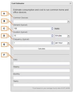 Screenshot of MyEyedro Client - Cost Estimator