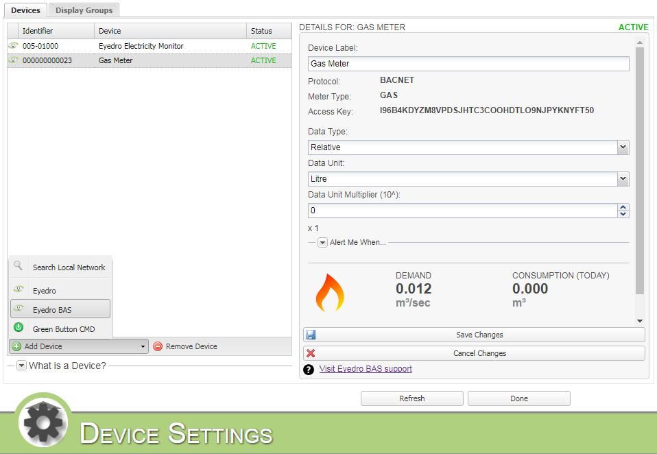 Screenshot of MyEyedro Devices Settings