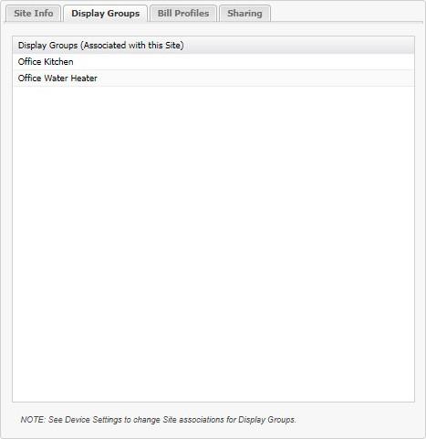 Sites Display Groups tab