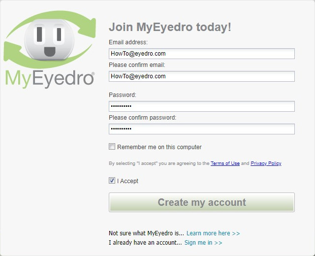 Create MyEyedro Password
