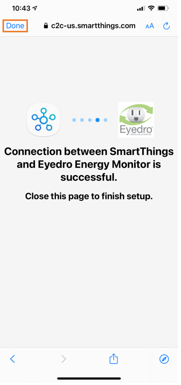 You've now linked your MyEyedro account with Samsung SmartThings!